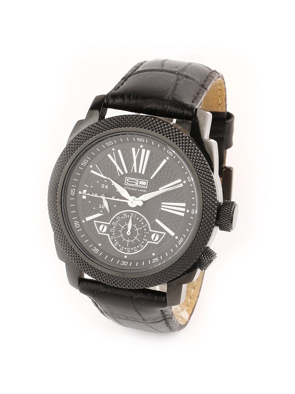 Steven Land Watch | Leather Strap | Black Minimalist