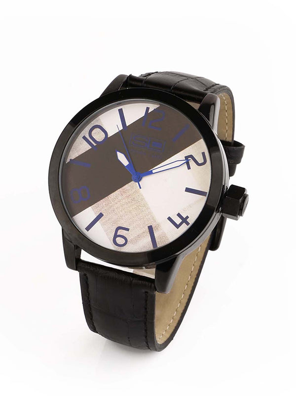 Steven Land Watch | Fashion Collection | | Black Leather Strap | Abstract