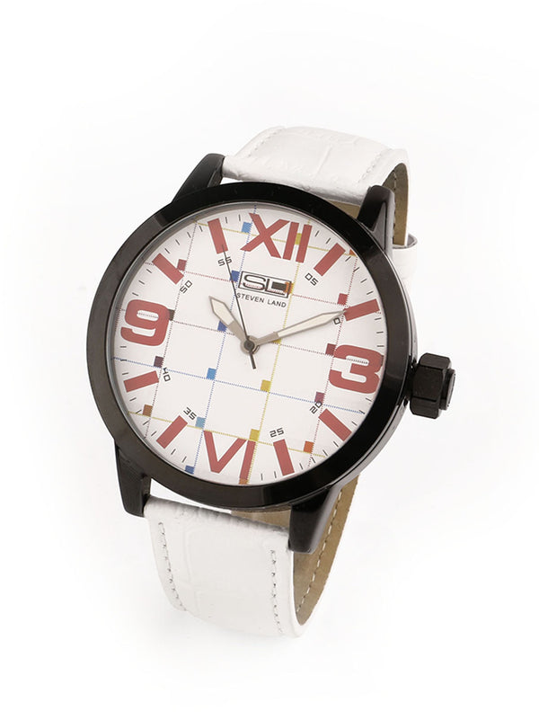 Steven Land Watch | Fashion Collection | White Leather Strap | LA Vibes