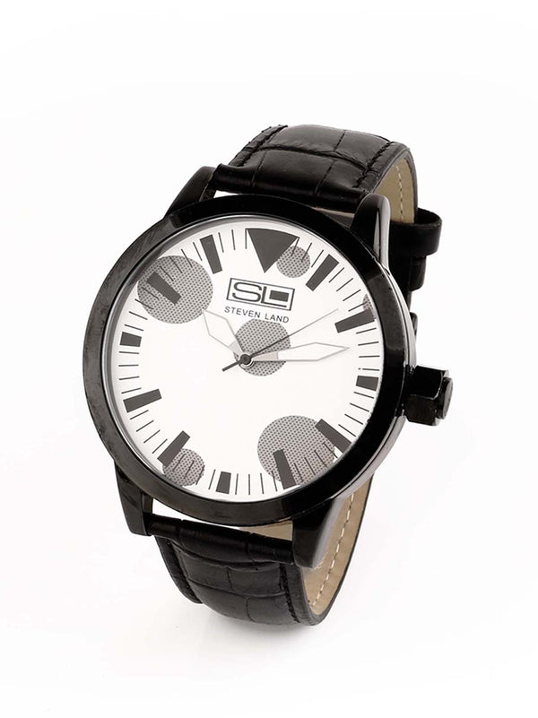 Steven Land Watch | Fashion Collection | Black Leather Strap | Monochrome