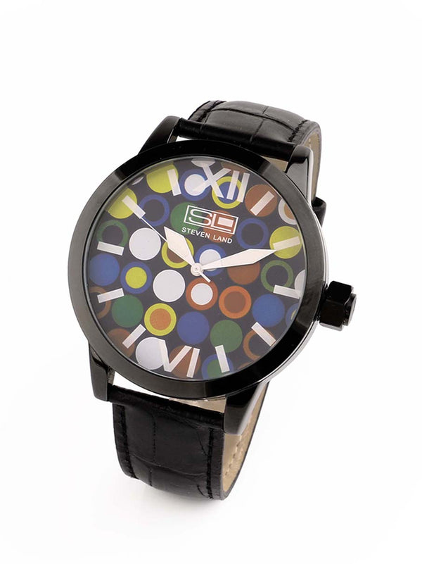 Steven Land Watch | Fashion Collection | Black Leather Strap | Party Animal