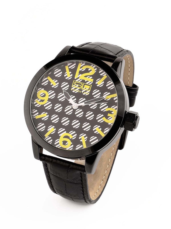 Steven Land Watch | Fashion Collection | Black Leather Strap | Black and Yellow