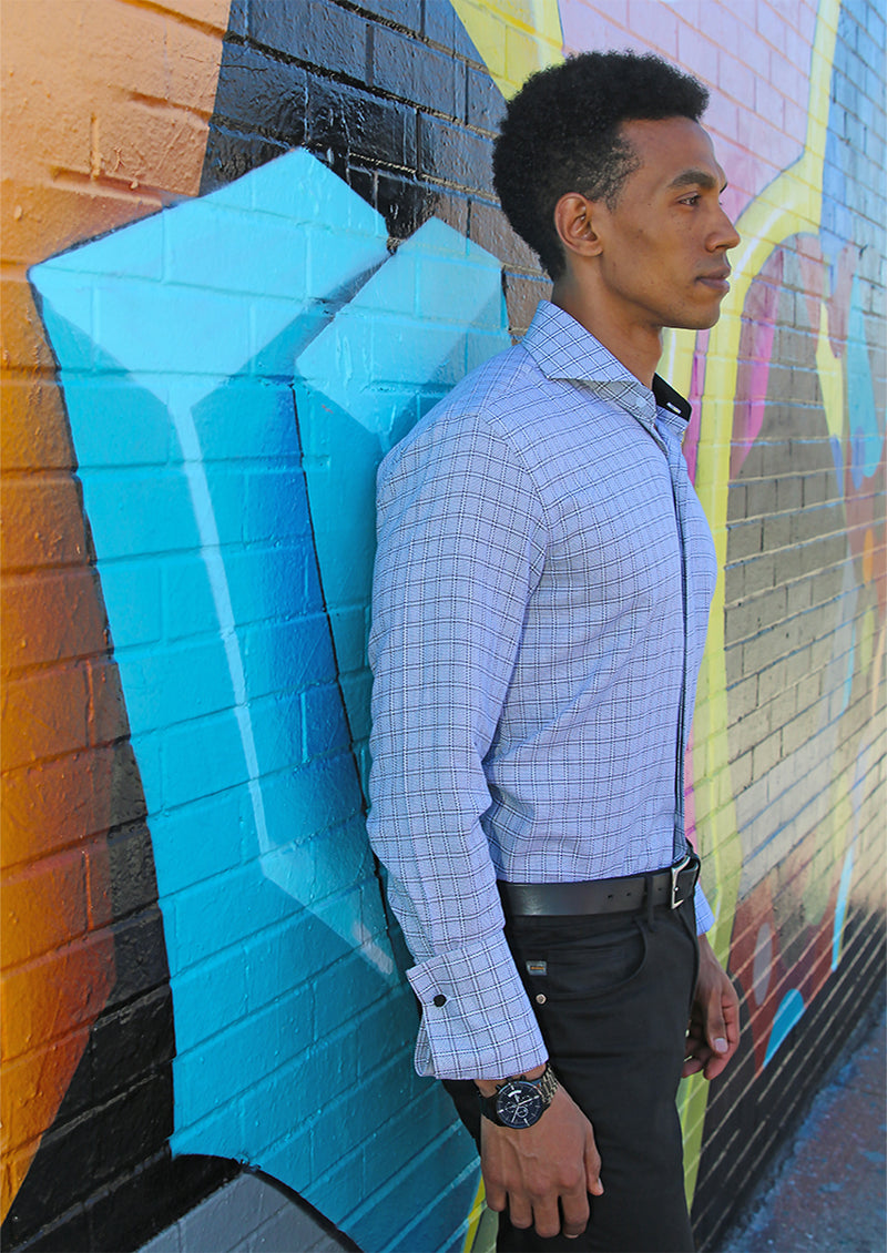 Grey Graph Dress Shirt  | Classic Fit | 100% Cotton | Cutaway Collar | French Cuff | DA1913