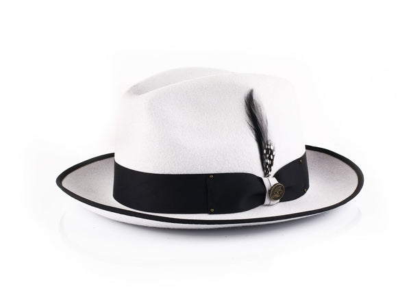Steven Land Hats | Brooklyn Collection | 100% Wool | Silver White & Black