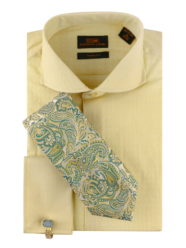 Lucky Size Steven Land | 4 PC Set | Dress Shirt, Tie, Hanky & Cufflink | Banana