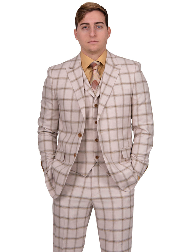 Steven Land | Moretti | Checkerboard 3 Piece Suit | Cream