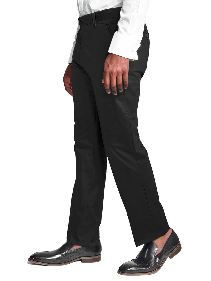 Pants | 100% Cotton Chino Flat Front Pants Color Black