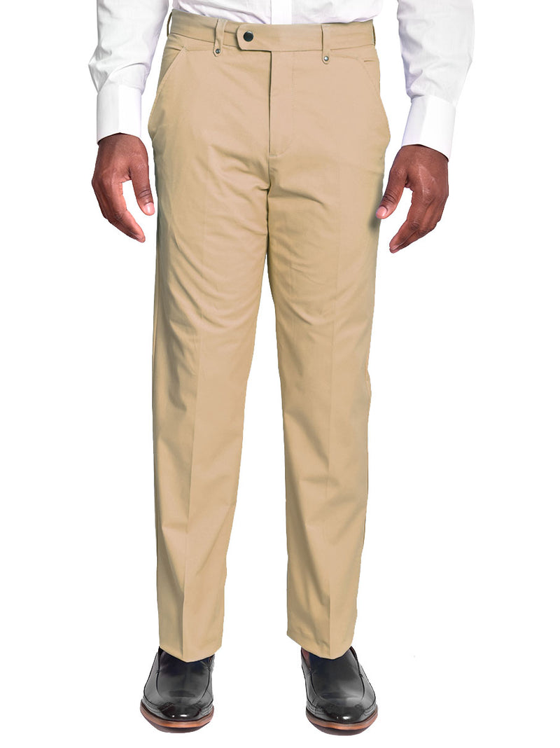Pants | 100% Cotton Chino Flat Front Pants color Khaki