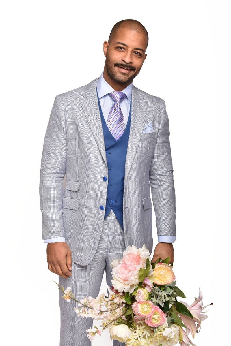 Steven Land | Ricci 3 PC Wool Suit | Blue Houndstooth
