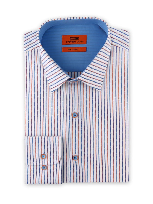 Contrast Stripe Dress Shirt | Blue | Slim Fit | SB1934