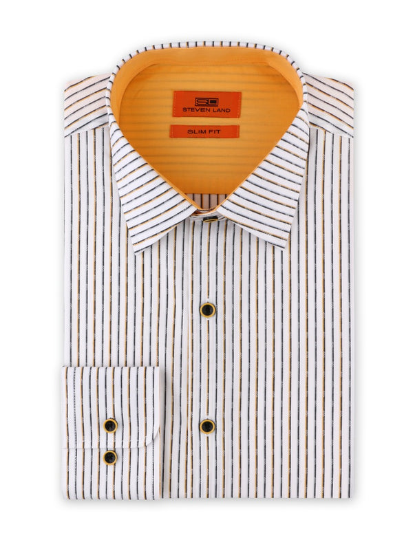 Contrast Stripe Dress Shirt | Gold | Slim Fit | SB1934