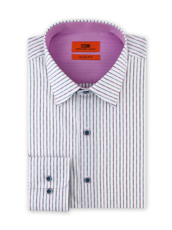 Contrast Stripe Dress Shirt | Sea Foam | Slim Fit | SB1934