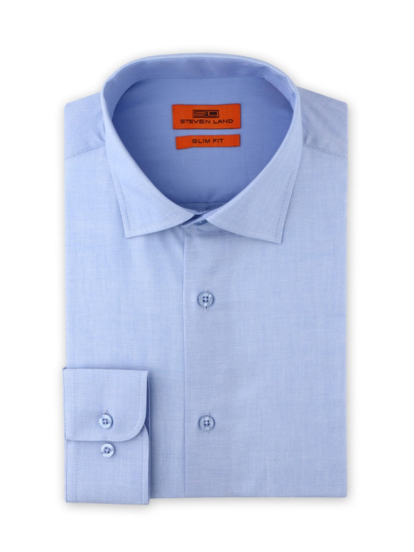 Herringbone Dress Shirt  | Blue | Slim Fit | SB1942