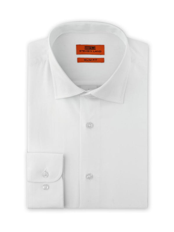 Herringbone Dress Shirt  | Slim Fit | White | SB1942