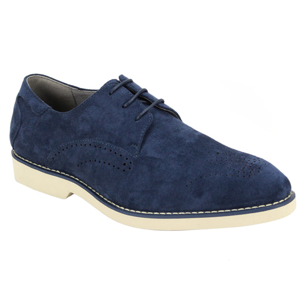 Steven Land Shoes | Perforated Derby | Suede | Blue