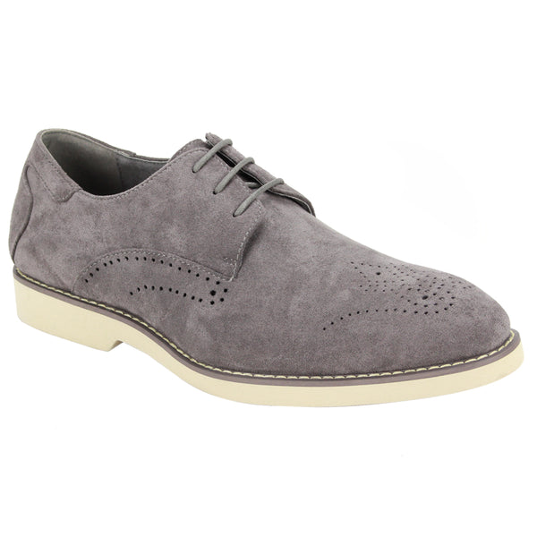 Steven Land Shoes | Perforated Derby | Suede | Light Grey