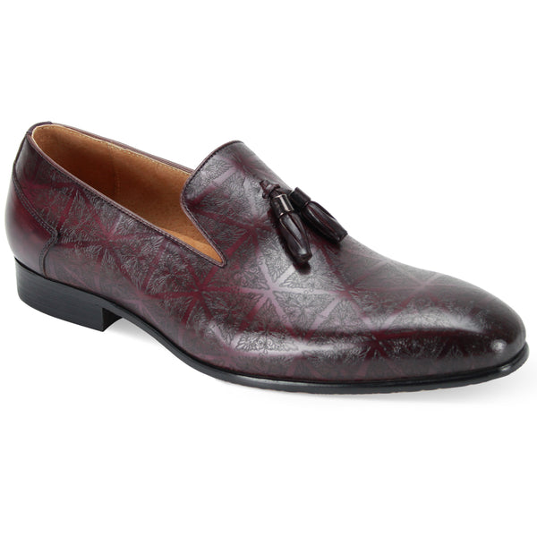 Steven Land Shoes | Laser Etch Tassel Slip-On Leather Loafer | Purple