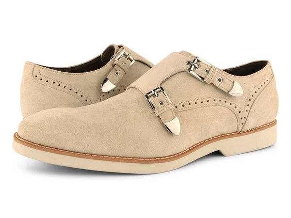 Steven Land Shoes | Crosby | Double Monk Strap Suede Shoe | Sand