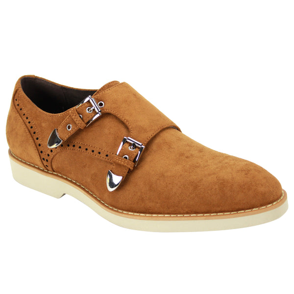 Steven Land Shoes | Crosby | Double Monk Strap Suede Shoe | Tan