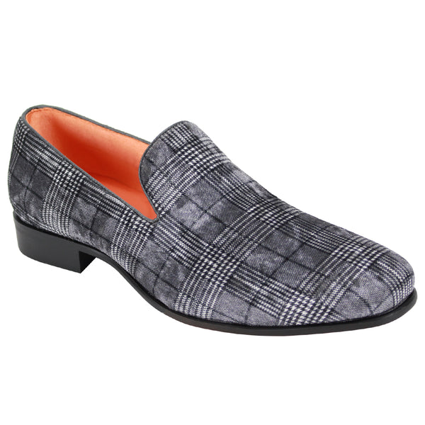 Steven Land Shoes | Velvet Plaid Loafer | Grey