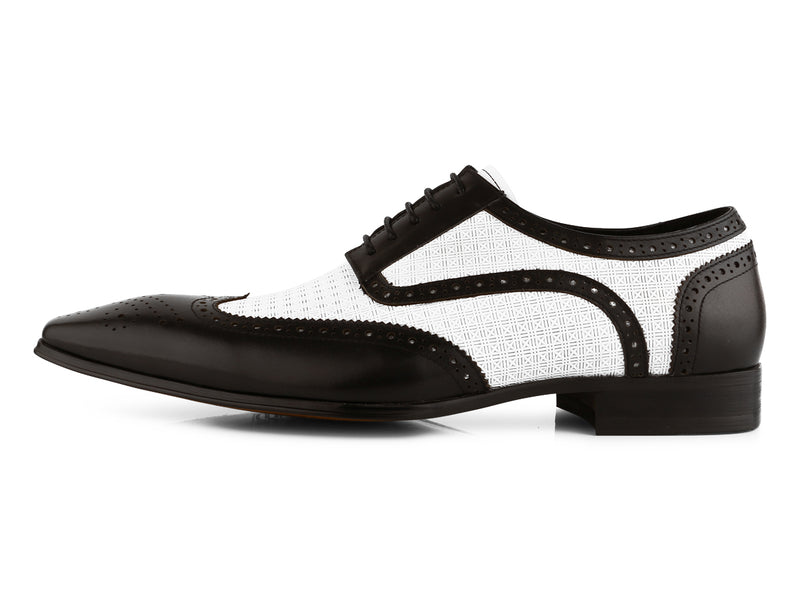 Steven Land Shoes | Two-Tone Leather Wingtip Derby Dress Shoe | Black & White