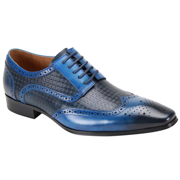 Steven Land Shoes | Ombre Leather Wingtip Derby Dress Shoe | Electric Blue