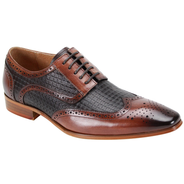 Steven Land Shoes | Two-Tone Leather Wingtip Derby Dress Shoe | Brown