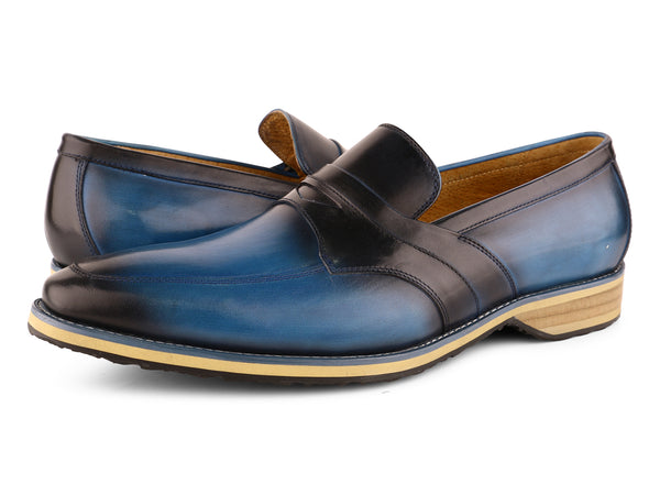 Steven Land Shoes | Italian Penny Leather Loafer | Blue