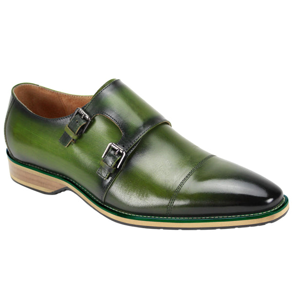 Steven Land Shoes | Antorio | Double Monk Strap Leather Dress Shoe | Olive Green
