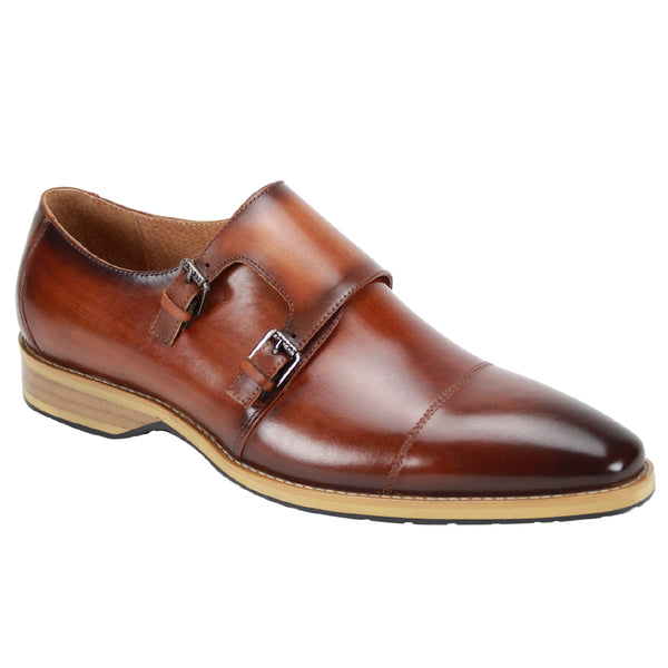 Steven Land Shoes | Antorio | Double Monk Strap Leather Dress Shoe | Tan