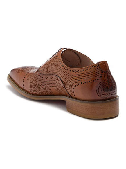 Steven Land Shoes | Leather Topstitched Oxford | Tan
