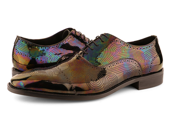 Steven Land Shoes | Iridescent Oxford Lace Up Leather Dress Shoe | Black Pearl