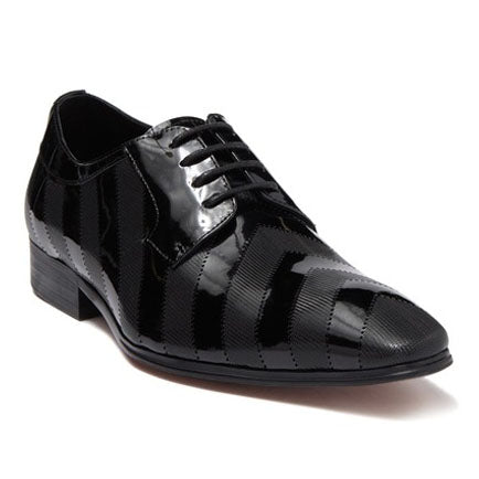 Steven Land Shoes | Leather Patent Striped Dress Derby | Black