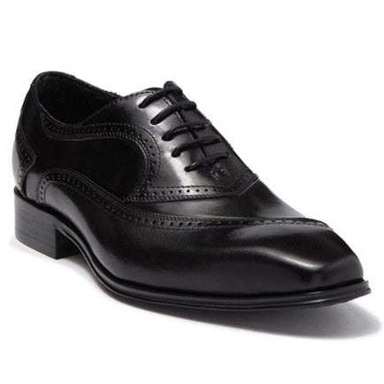 Steven Land Shoes | Leather Asymmetrical Brogue Medallion Oxford | Black