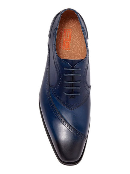 Steven Land Shoes | Leather Asymmetrical Brogue Medallion Oxford | Blue