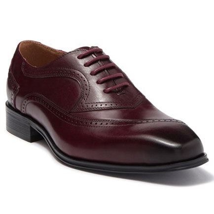 Steven Land Shoes | Leather Asymmetrical Brogue Medallion Oxford | Burgundy