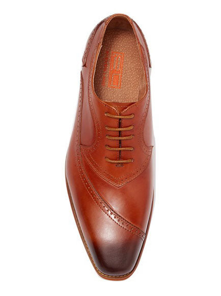 Steven Land Shoes | Leather Asymmetrical Brogue Medallion Oxford | Tan