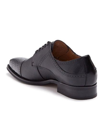 Steven Land Shoes | Leather Textured Cap Toe Derby | Black
