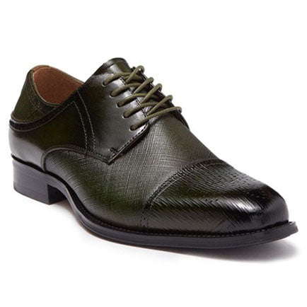 Steven Land Shoes | Leather Textured Cap Toe Derby | Olive