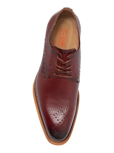 Steven Land Shoes | Leather Textured Dress Derby | Cognac