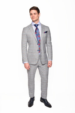 Steven Land | Marl Grey Plaid Slim Fit 2 PC Dante Suit |  SL77-549