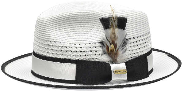 Steven Land Hats | Bronx Natural Braid Fedora | White & Black