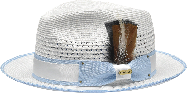 Steven Land Hats | Bronx Natural Braid Fedora | White & Light Blue