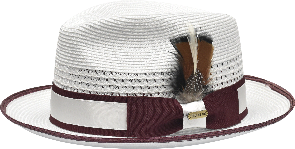Steven Land Hats | Bronx Natural Braid Fedora | White & Burgundy