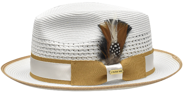 Steven Land Hats | Bronx Natural Braid Fedora | White & Caramel