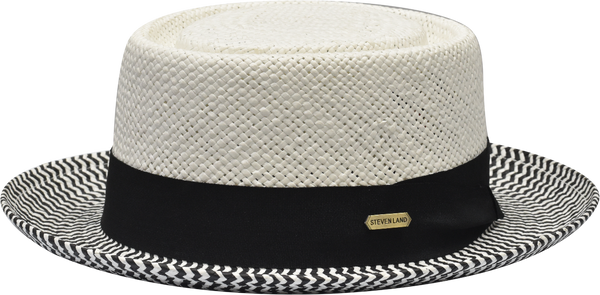 Steven Land Hats | Diplomat Natural Braid Telescope | White & Black