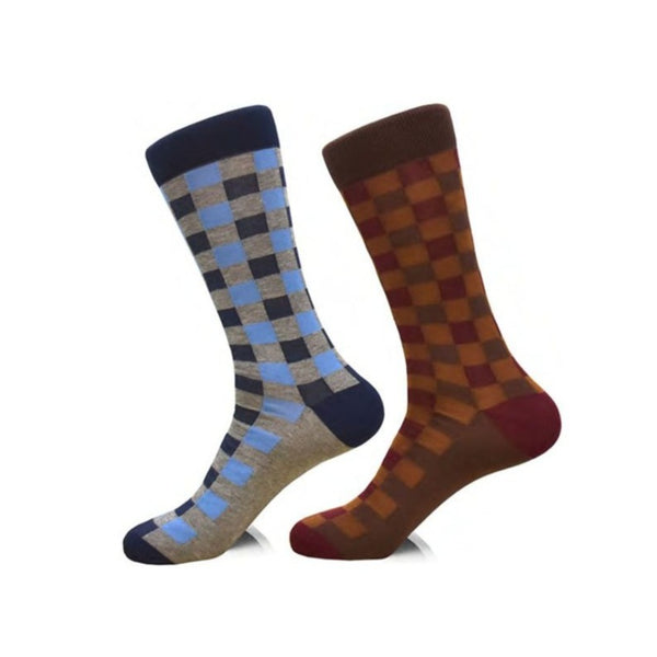 Steven Land | Cool & Warm Checkerboard | Cotton Blend Dress Socks | Pack Of 2