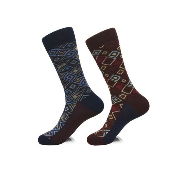 Steven Land | Diamonds | Cotton Blend Dress Socks | Pack Of 2