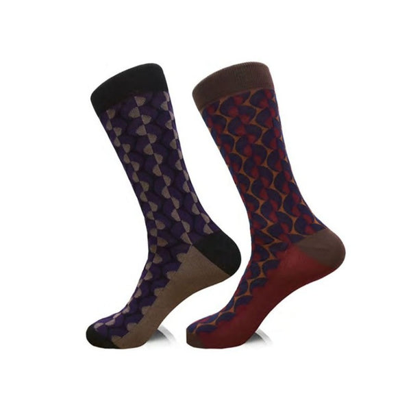 Steven Land | Mod Geo | Cotton Blend Dress Socks | Pack Of 2