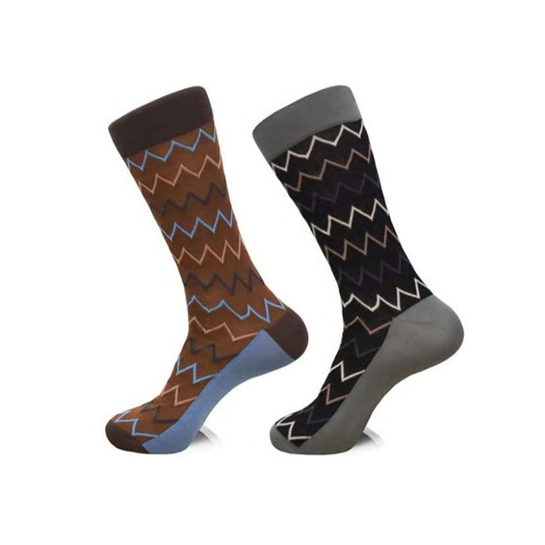 Steven Land | Misoni Chevron | Cotton Blend Dress Socks | Pack Of 2